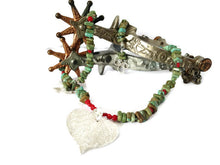 Load image into Gallery viewer, Necklace with green turquoise, coral, silver, real aspen leaf - Buckaroo Bling