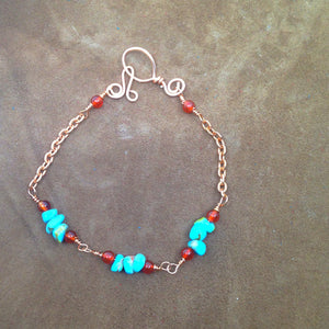 turquoise and carnelian stacking bracelet with copper chain