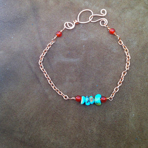 simple turquoise and copper stacking bracelet