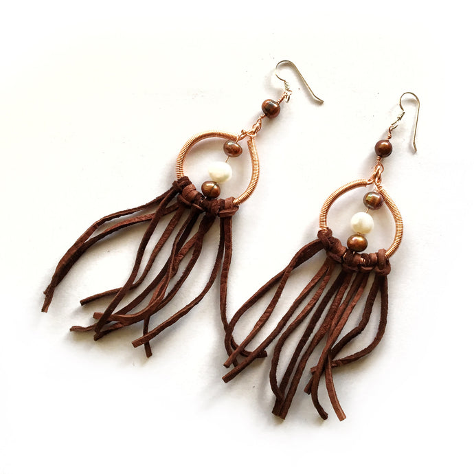 One-of-a-kind Brown Dream Catcher Earrings