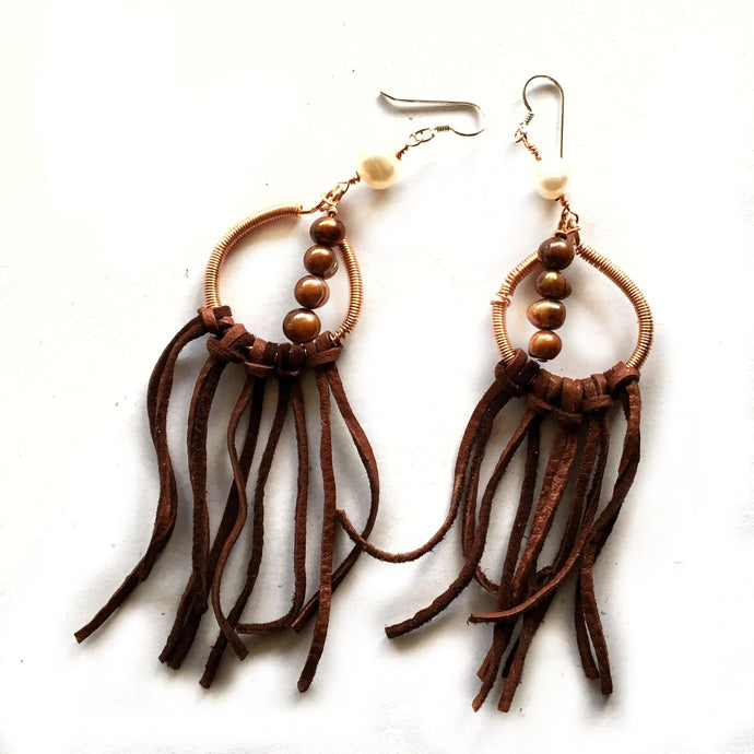 One-Of-A-Kind Pearl and Leather Fringe Earrings