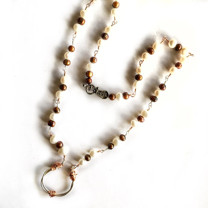 One-Of-A-Kind Freshwater Pearl Necklace With Barbed Wire Pendant