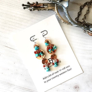 Custom copper and Campitos turquoise earrings for Miss Teen Rodeo Montana 2020