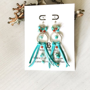 Custom sterling silver, Campitos turquoise, and deer leather earrings for Miss Teen Rodeo Montana 2020