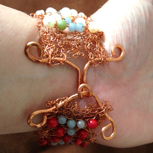 Clasp on knitted wire cuff by Buckaroo Bling
