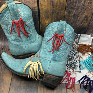 Boot Bling deer leather fringe accessories for cowgirl boots