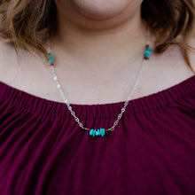 Load image into Gallery viewer, Long layering necklace in sterling silver and turquoise