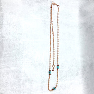 Long Copper Chain Necklace with Campitos Turquoise, Carnelian - Buckaroo Bling