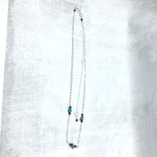 Load image into Gallery viewer, Long Sterling Silver Chain Necklace with Turquoise, Carnelian - Buckaroo Bling