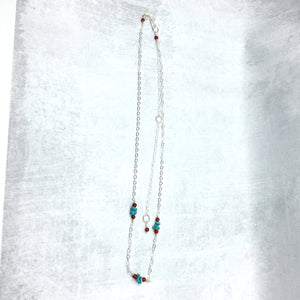 Long Sterling Silver Chain Necklace with Turquoise, Carnelian - Buckaroo Bling