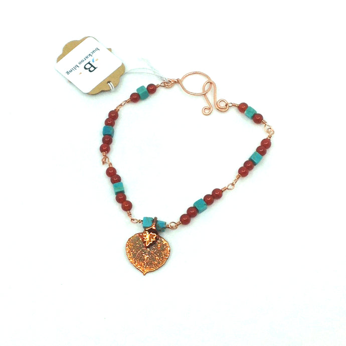 Copper Aspen Leaf Bracelet With Turquoise And Carnelian