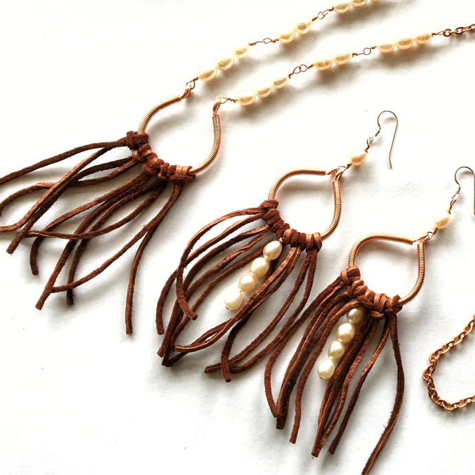 One-of-a-Kind Freshwater Pearl and Leather Fringe Necklace