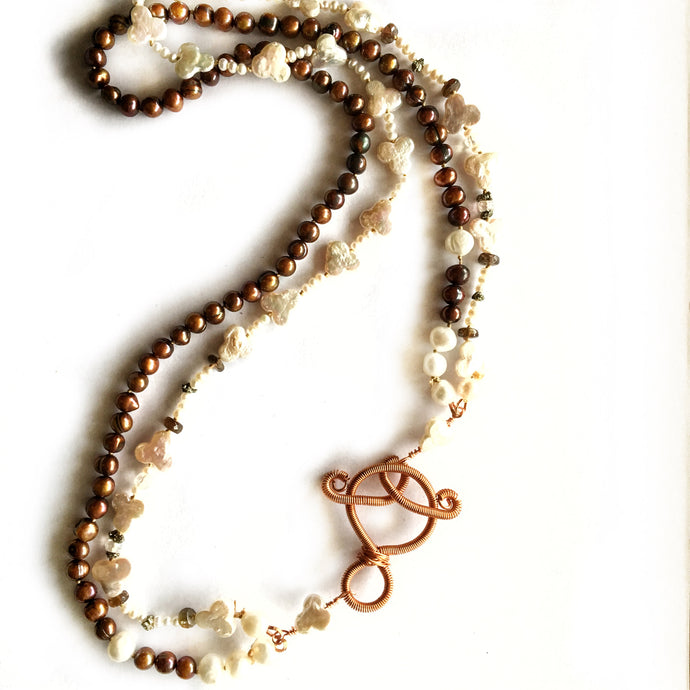 Double strand white & chocolate pearl necklace, copper clasp by Buckaroo Bling