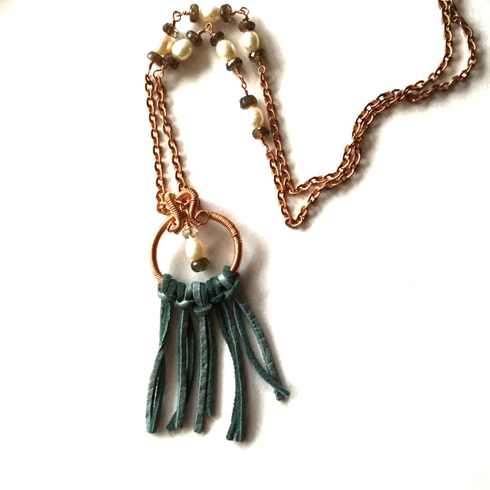 Pearl and Andalusite Copper Necklace With Fringe