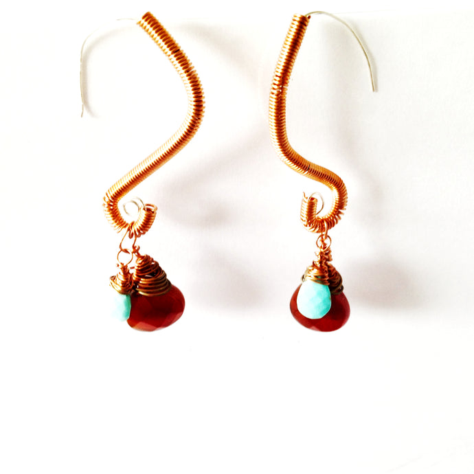 One-off Carnelian and Turquoise Drop Earrings by Buckaroo Bling