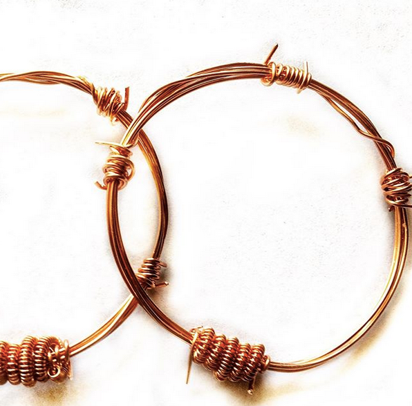 Copper Barbed Wire Bangle Bracelet