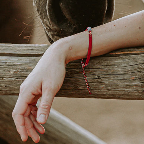 Stacking adjustable leather and turqoise bracelet in red