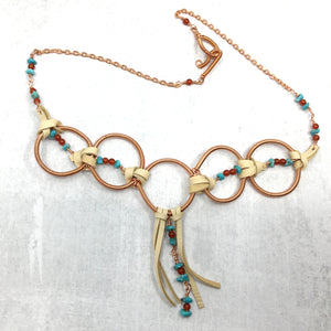 Turquoise, Buckskin Deer Leather, Coiled Copper Statement Necklace - Buckaroo Bling