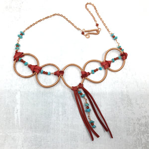 Turquoise, Red Deer Leather, Coiled Copper Statement Necklace - Buckaroo Bling