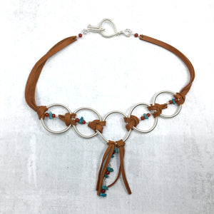 Turquoise, Saddle Tan Deer Leather, Coiled Silver Statement Necklace - Buckaroo Bling