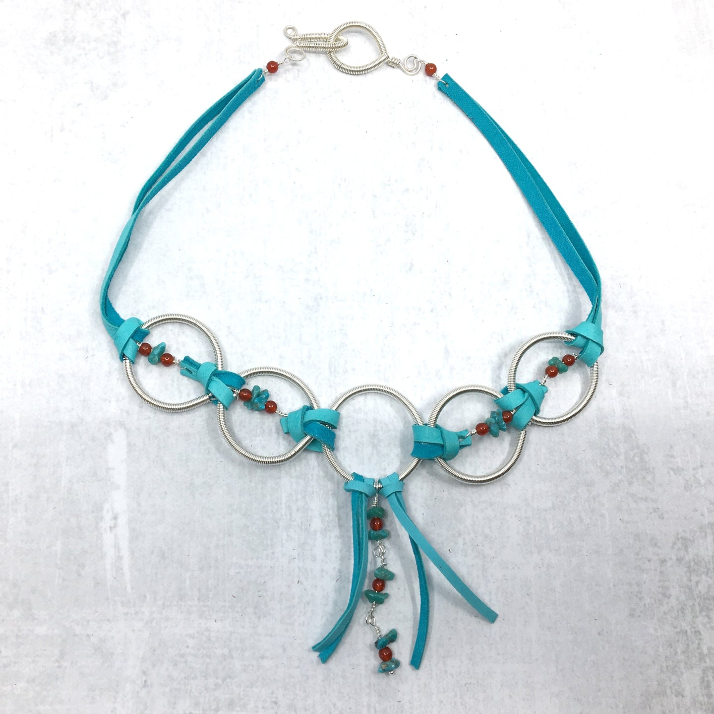 Turquoise, Turquoise Deer Leather, Coiled Silver Statement Necklace - Buckaroo Bling
