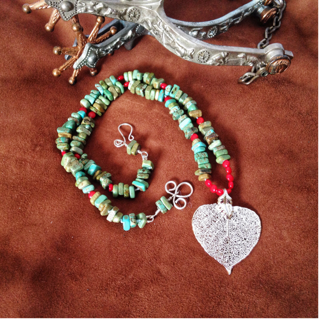 One-off necklace - green turquoise, coral, silver, real aspen leaf - Buckaroo Bling