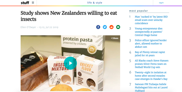 Study shows New Zealanders willing to eat insects - STUFF