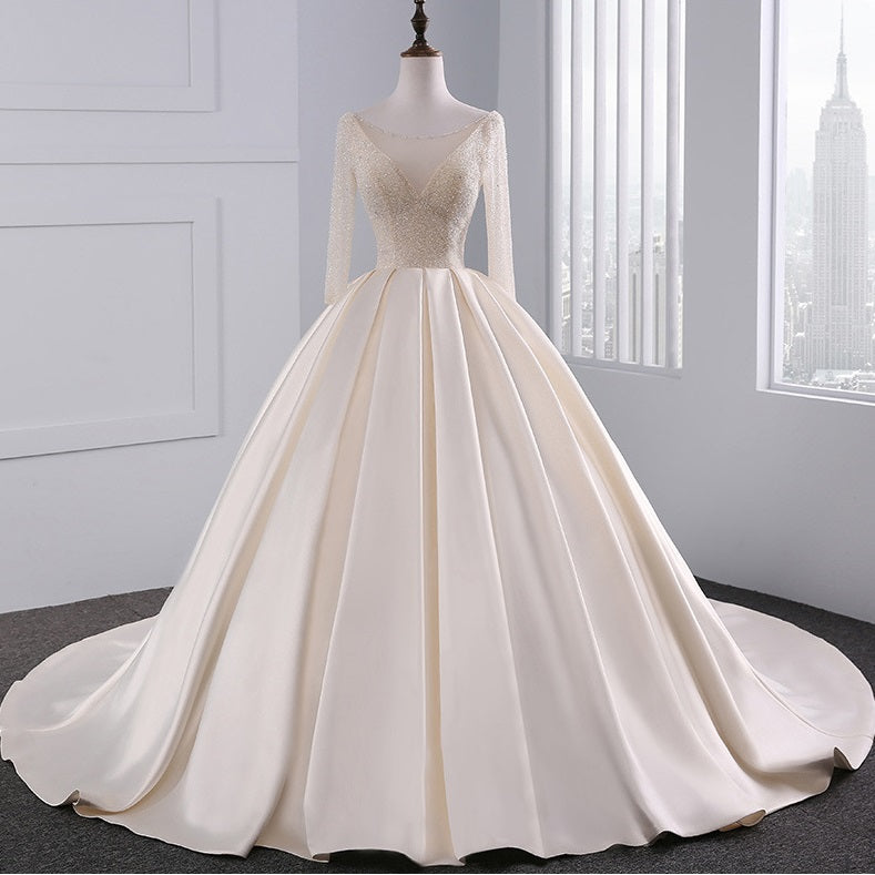 DM #w012 V Neck Long Sleeves Wedding Dress