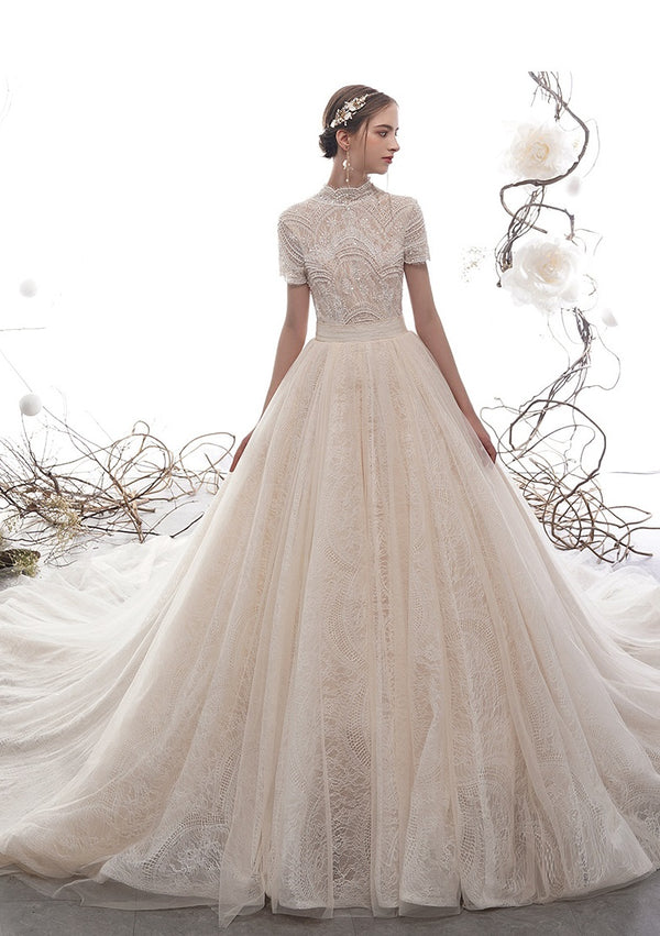 DM #w013 Princess Long Train Wedding Dress