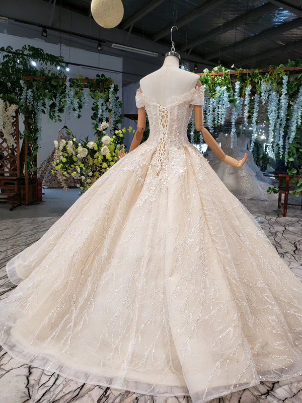 DM #w008 Off the Shoulder Backless Wedding Dress