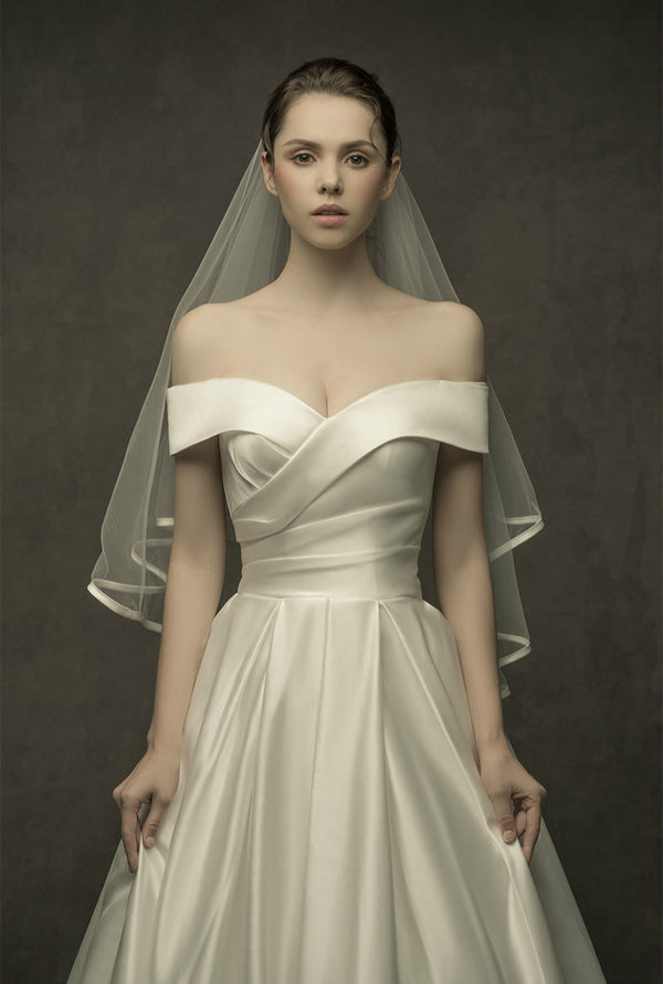 DM #w035 Beautiful Satin Wedding Dress Off The Shoulder