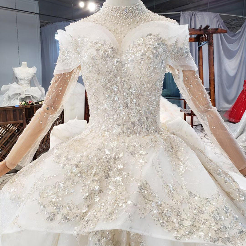 DM #w055 High Neck Wedding Dress With Long Sleeves