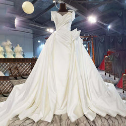 DM #s001 Pure White Graceful Satin Wedding Dress