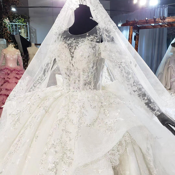 DM #w053 Long Sleeved Lace Ball Gown Wedding Dress