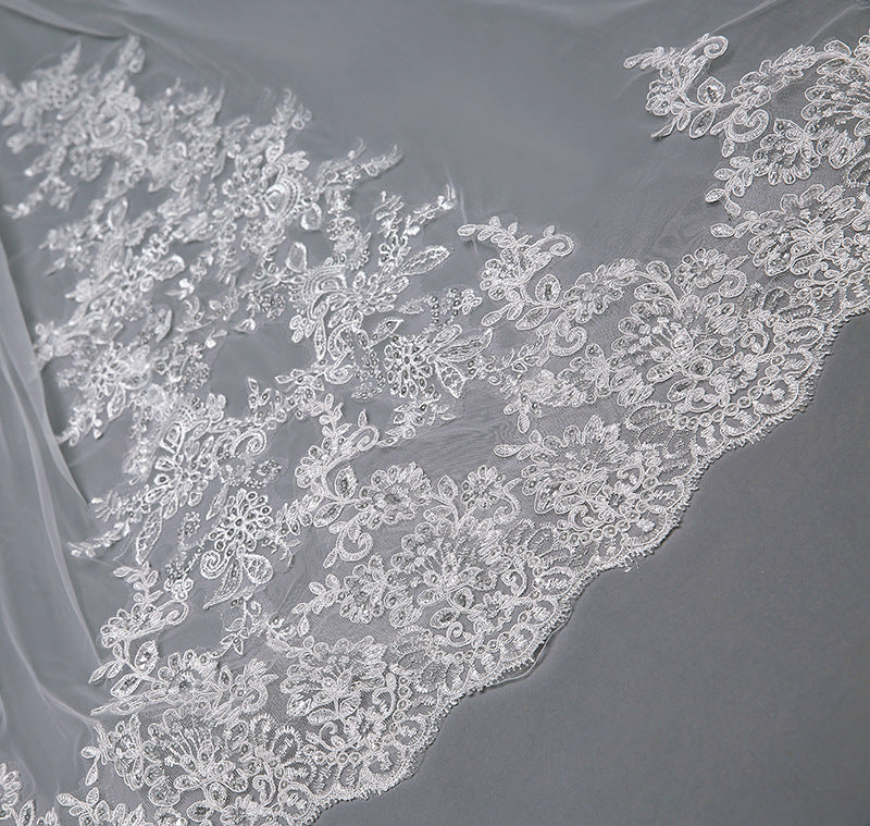 DM #v003 Corded Lace Cathedral Veil with Scalloped Edge