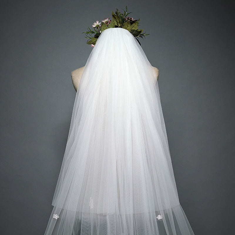 DM #v001 One-Tier Lace Edge Cathedral Veils