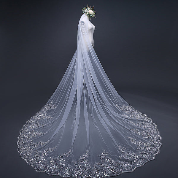 DM #v002 Metallic Embroidered Cathedral Veil