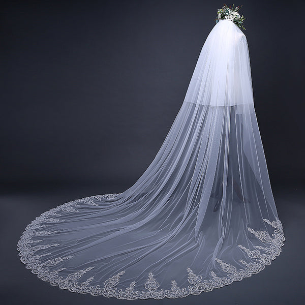 DM #v004 Embroidered  Lace Cathedral Veil