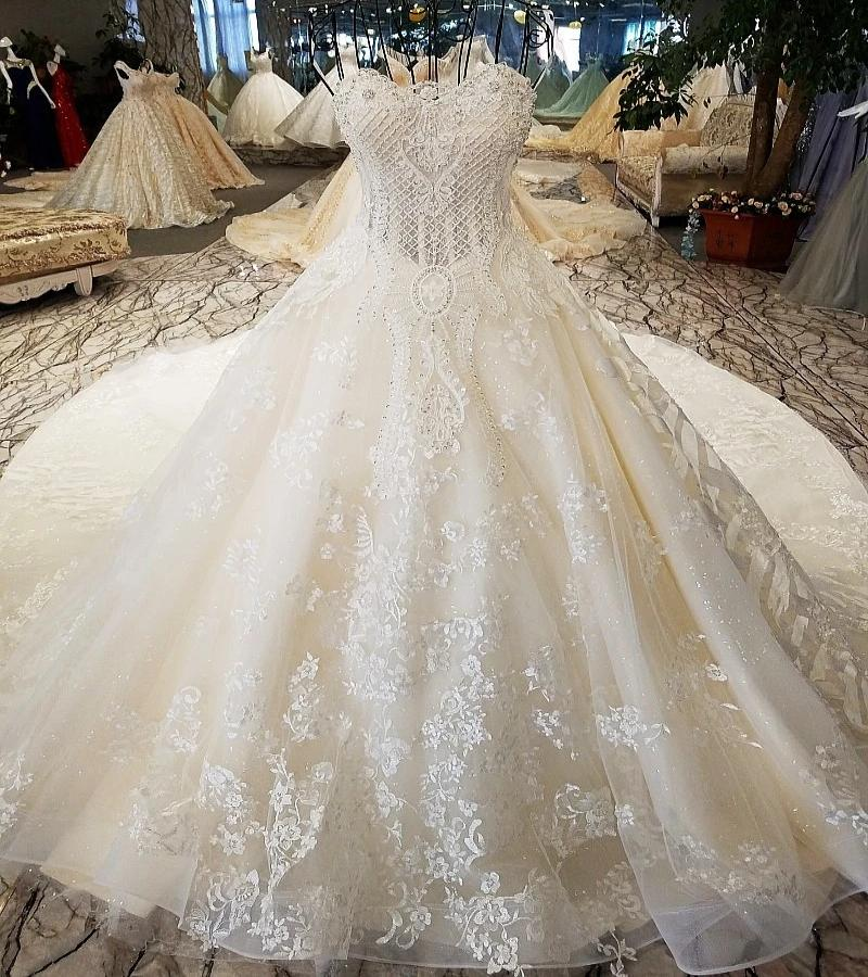 DM #w021 Luxury Wedding Dresses Sleeveless Lace Ball Gown Wedding Dresses