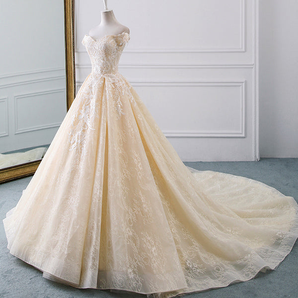DM #w051 Champagne Vintage Wedding Dress Off The Shoulder Wedding Gowns