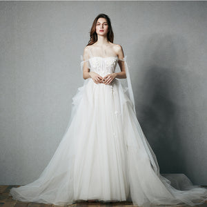 DM #w029 Off Shoulder White and Beautiful Wedding Dress