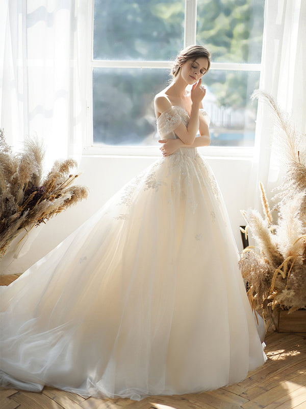 DM #w023 2020 New Style Luxury Off Shoulder Wedding Dress