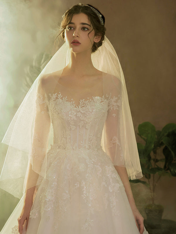DM #w027 Simple Off The Shoulder Wedding Dress