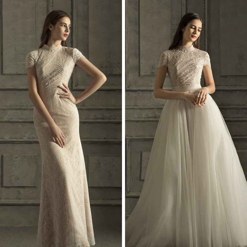 DM #w036 Glamorous Wedding Dress with Short Sleeves Two Styles