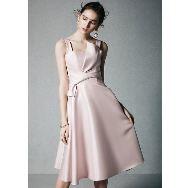 DM #p001 Pink Satin Prom Dress Party Dress