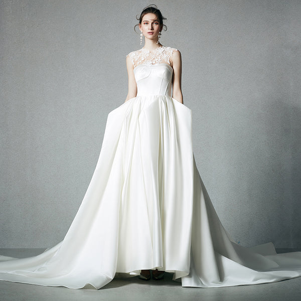 DM #w028 Satin Vintage Wedding Dress