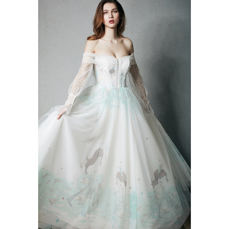 DM #w047 New Off The Shoulder Wedding Dress Fairytale Lace Dress