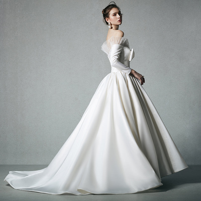 DM #w039 Long Sleeves Off the Shoulder Wedding Dress