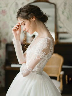 DM #w026 Long-sleeved Simple Wedding Dress