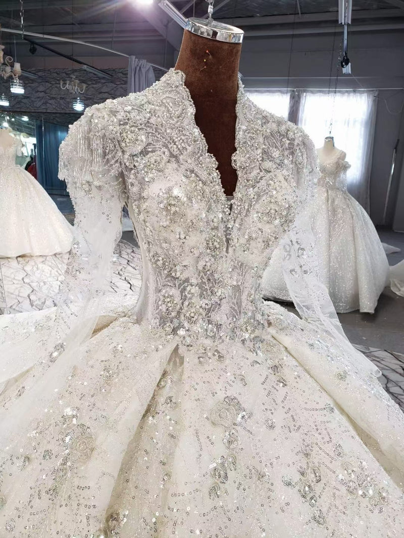 DM #w052  Luxury V Neckline Wedding Dress with Long Sleeves